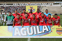 TUNJA -COLOMBIA-15-MAYO-2016. Formación de Patriotas F.C. contra Nacional . Acción de juego entre  Patriotas FC con el Nacional durante partido por la fecha 18 de Liga Águila I 2016 jugado en el estadio La Independencia./ Team of Patriotas FC against Nacional during the match for the date 18 of the Aguila League I 2016 played at La Independencia stadium in Tunja. Photo: VizzorImage / César Melgarejo  / Contribuidor
