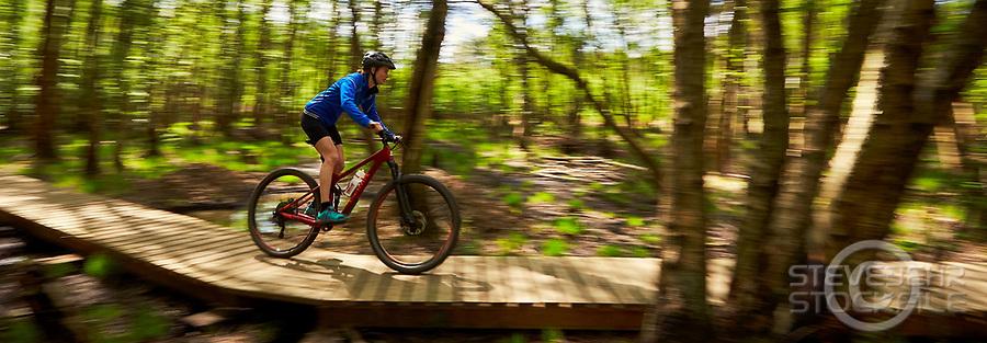 Elise Quarrington riding a Marin Rift Zone 8 mountain bike . Chobham Common, Surrey . April 2017 .