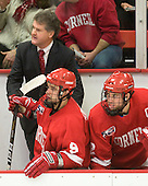 Mike Schafer (Cornell - Head Coach), Tyler Roeszler (Cornell - 9), Joe Devin (Cornell - 22) - The visiting Cornell University Big Red defeated the Harvard University Crimson 2-1 on Saturday, January 29, 2011, at Bright Hockey Center in Cambridge, Massachusetts.