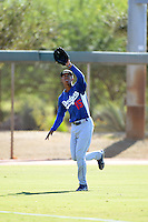 Los Angeles Dodgers outfielder Jacob Scavuzzo (15) during an Instructional League game against the Chicago White Sox on October 12, 2013 at Camelback Ranch Complex in Glendale, Arizona.  (Mike Janes/Four Seam Images)