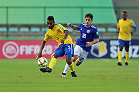 31st October 2019; Bezerrao Stadium, Brasilia, Distrito Federal, Brazil; FIFA U-17 World Cup Brazil 2019, Solomon Islands versus Paraguay; Javin Alick of Solomon Islands and Diego Acosta of Paraguay - Editorial Use