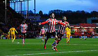 Lincoln City's Tom Pett, left, celebrates scoring his side's second goal with team-mate Bruno Andrade<br /> <br /> Photographer Chris Vaughan/CameraSport<br /> <br /> Emirates FA Cup First Round - Lincoln City v Northampton Town - Saturday 10th November 2018 - Sincil Bank - Lincoln<br />  <br /> World Copyright © 2018 CameraSport. All rights reserved. 43 Linden Ave. Countesthorpe. Leicester. England. LE8 5PG - Tel: +44 (0) 116 277 4147 - admin@camerasport.com - www.camerasport.com