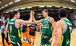 S&ouml;dert&auml;lje 2014-10-01 Basket Basketligan S&ouml;dert&auml;lje Kings - Norrk&ouml;ping Dolphins :  <br /> S&ouml;dert&auml;lje Kings Carl Engstr&ouml;m och Toni Bizaca g&ouml;r en high five efter matchen och segern &ouml;ver Norrk&ouml;ping Dolphins <br /> (Foto: Kenta J&ouml;nsson) Nyckelord:  S&ouml;dert&auml;lje Kings SBBK T&auml;ljehallen Norrk&ouml;ping Dolphins jubel gl&auml;dje lycka glad happy