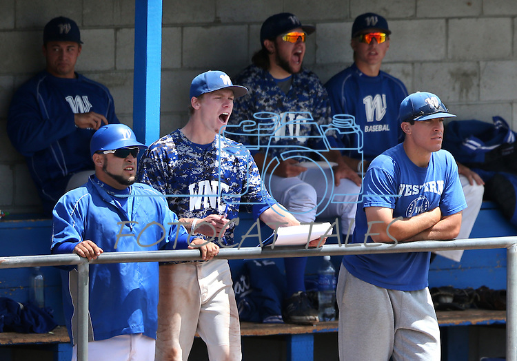 Western Nevada's bench watches the action against College of Southern Nevada at Western Nevada College in Carson City, Nev. on Friday, May 6, 2016. <br />