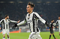 Calcio, quarti di finale di Tim Cup: Juventus vs Milan. Torino, Juventus Stadium, 25 gennaio 2017.<br /> Juventus' Paulo Dybala celebrates after scoring during the Italian Cup quarter finals football match between Juventus and AC Milan at Turin's Juventus stadium, 25 January 2017.<br /> UPDATE IMAGES PRESS/Manuela Viganti