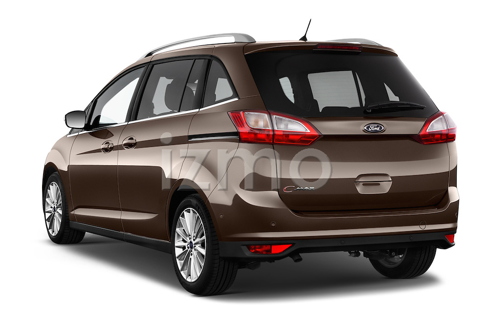 Car pictures of rear three quarter view of 2015 Ford Grand C-Max Titanium 5 Door Mini Mpv Angular Rear