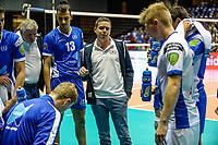 GRONINGEN - Volleybal, Lycurgus - SK Posojilnica Aich/Dob, voorronde Champions League, seizoen 2018-2019, 11-10-2018,  time out met Lycurgus coach Arjan Taaij