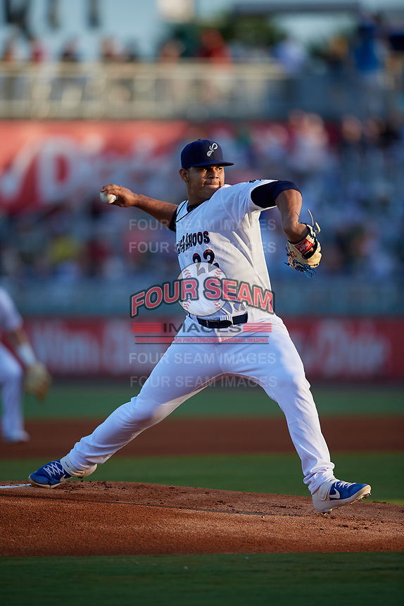 Pensacola Blue Wahoos starting pitcher Brusdar Graterol (22) delivers a pitch during a Southern League game agains the Biloxi Shuckers on May 3, 2019 at Admiral Fetterman Field in Pensacola, Florida.  (Mike Janes/Four Seam Images)