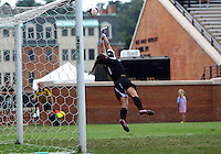 WINSTON-SALEM, NORTH CAROLINA - September 01, 2013:<br />  Paige Brown (1) of Louisville University makes a save against Wake Forest University during a match at the Wake Forest Invitational tournament at Wake Forest University on September 01. The match was abandoned early in the second half due to severe weather with Wake leading 1-0.