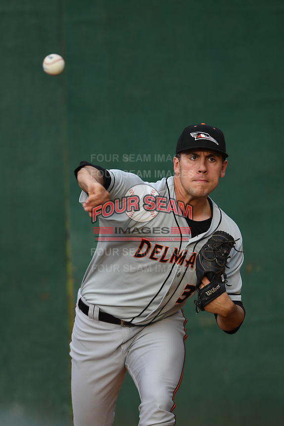 Delmarva Shorebirds starting pitcher Grayson Rodriguez (36) warms up prior to game one of the Northern Division, South Atlantic League Playoffs against the Hickory Crawdads at L.P. Frans Stadium on September 4, 2019 in Hickory, North Carolina. The Crawdads defeated the Shorebirds 4-3 to take a 1-0 lead in the series. (Tracy Proffitt/Four Seam Images)