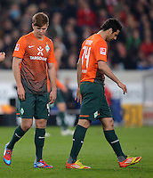 FUSSBALL  1. BUNDESLIGA  SAISON 2011/2012  31. SPIELTAG 13.04.2012 VfB Stuttgart - SV Werder Bremen Enttaeuschung Werder Bremen; Niclas Fuellkrug (li) und  Claudio Pizarro