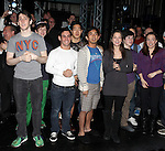 Aaron J. Albano with Tommy Bracco, Ben Fankhauser, Alex Wong, Kyle Coffman, Andy Richardson, Kara Lindsay & Company.attending the Actors' Equity Broadway Opening Night Gypsy Robe Ceremony for Aaron J. Albano in.'Newsies - The Musical' at the Nederlander Theatre in NewYork City on 3/29/2012