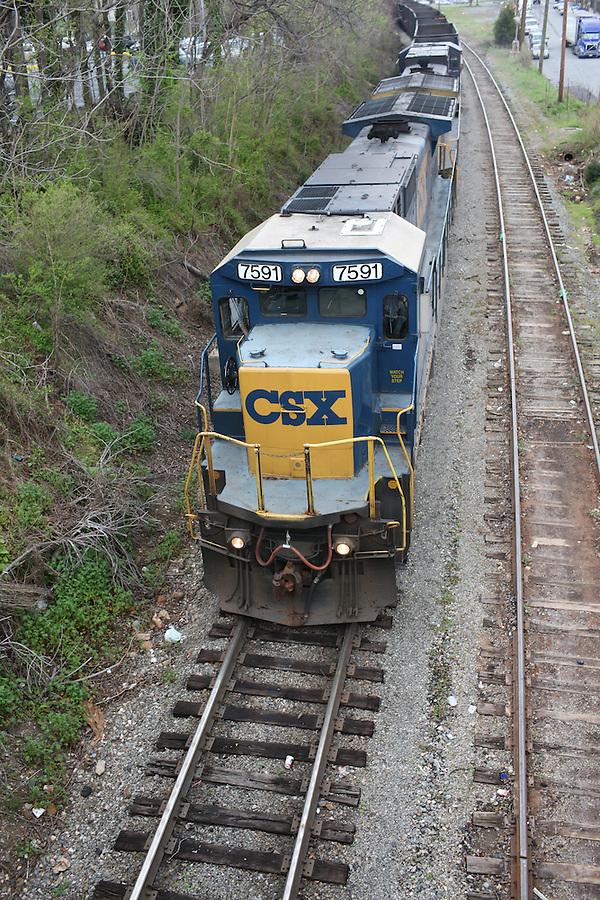 The CSX train riding through Charlottesville, VA.