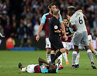 Paul Pogba of Manchester United and Mark Noble of West Ham United square up during West Ham United vs Manchester United, Premier League Football at The London Stadium on 10th May 2018