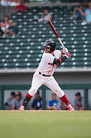 Mesa Solar Sox second baseman Esteban Quiroz (2), of the Boston Red Sox organization, at bat during an Arizona Fall League game against the Peoria Javelinas at Sloan Park on October 11, 2018 in Mesa, Arizona. Mesa defeated Peoria 10-9. (Zachary Lucy/Four Seam Images)