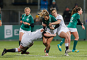 1st February 2019, Energia Park, Dublin, Ireland; Womens Six Nations rugby, Ireland versus England; Eimear Considine of Ireland is tackled by Catherine O'Donnell and Katy Daley-Mclean of England