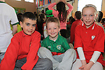 Liam Kirwan, Kyle O'Brien and Victoria Ztals.students in St John's National School who took part in the Intercultural Assembly..Picture: Fran Caffrey / www.newsfile.ie ..