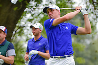 Justin Thomas (USA) watches his tee shot on 18 during round 3 of the World Golf Championships, Mexico, Club De Golf Chapultepec, Mexico City, Mexico. 3/4/2017.<br /> Picture: Golffile | Ken Murray<br /> <br /> <br /> All photo usage must carry mandatory copyright credit (&copy; Golffile | Ken Murray)