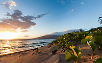 Tranquil sandy beach minutes before sunset on Maui.