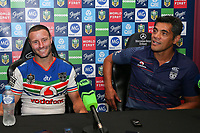 A pleased Blake Green (L) and Stephen Kearney at the post match press conference. Sydney Roosters v Vodafone Warriors, NRL Rugby League. Allianz Stadium, Sydney, Australia. 31st March 2018. Copyright Photo: David Neilson / www.photosport.nz