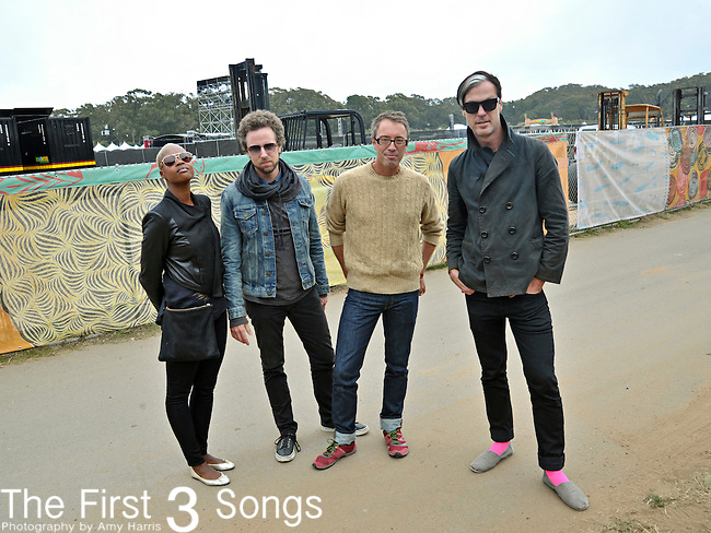 Noelle Scaggs, Joseph Karnes, John Wicks, and Michael Fitzpatrick of Fitz and the Tantrums backstage at Outside Lands Festival at Golden Gate Park in San Francisco, California.