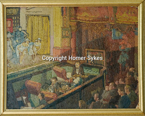 Orchestra Stalls by Francis Hewlett,  1950 / 1951 . Painting made while FH, he was at the West of England art school and selected for the Young Contemporaries annual show in London. See label on verso.