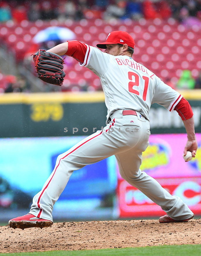 Philadelphia Phillies Clay Buchholz (21) during a game against the Cincinnati Reds on April 6, 2017 at Great American Ballpark in Cincinnati, OH. The Reds beat the Phillies 4-7.