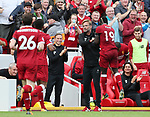 Liverpool's Sadio Mane celebrates scoring with Jurgen Klopp during the premier league match at the Anfield Stadium, Liverpool. Picture date 19th August 2017. Picture credit should read: David Klein/Sportimage