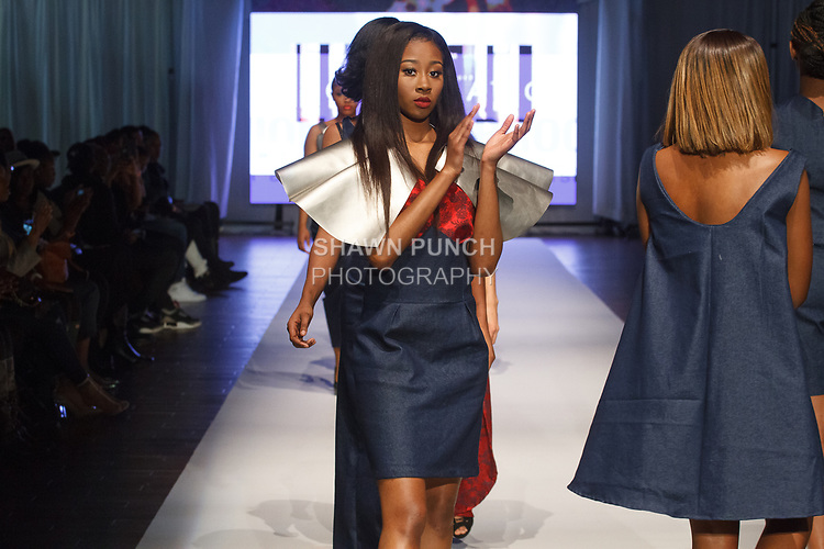 Models walk runway in outfits from the Maxwell High School Fall Winter 2017 collection fashion show, at the Brooklyn EXPO Center on March 31, 2017 during Fashion Week Brooklyn Fall Winter 2017.