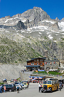 Switzerland, Canton Valais, roadhouse and entrance to Rhone Glacier Ice Grotto at Furka Pass Road