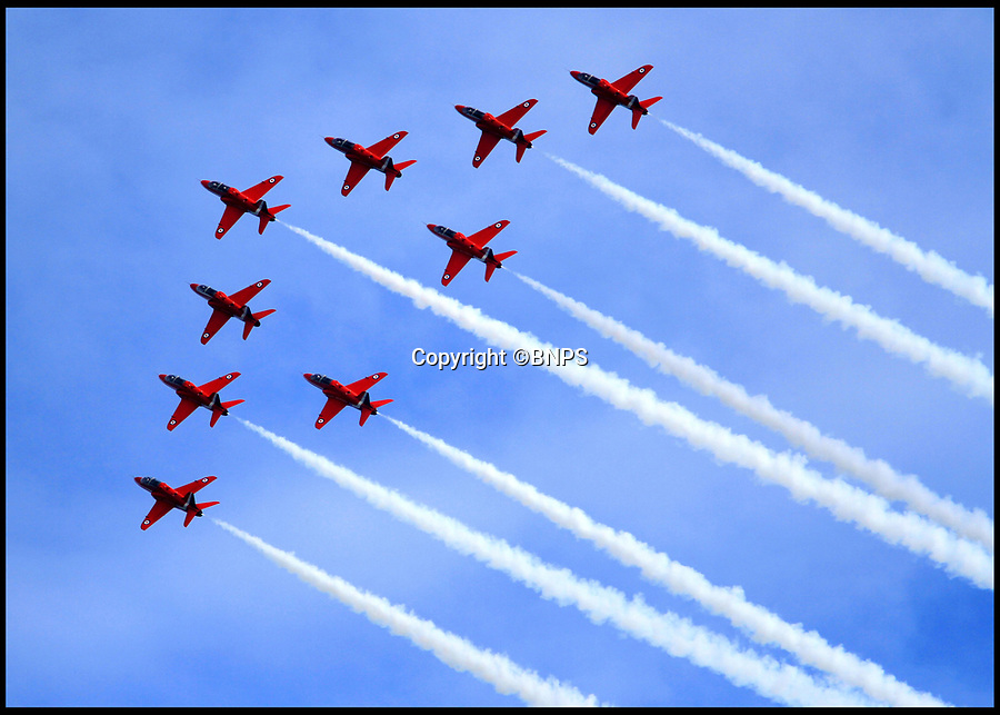 BNPS.co.uk (01202 558833)<br /> Picture:   BNPS<br /> <br /> The Red Arrows performing at Bournemouth Air Show.<br /> <br /> Government officials have made an 'embarrassing blunder' by using an image of a Russian fighter jet while trying to promote the RAF's famous Red Arrows.<br /> <br /> The Department for International Trade is currently counting down the days to the Red Arrows forthcoming tour of the US through a series of tweets.<br /> <br /> One of its recent posts contained the message 'The Red Arrows can fly at 48,000 FT. That's higher than Mount Everest' accompanied by the outline of an aircraft.<br /> <br /> But the silhouette used depicted a Russian Sukhoi Su-30/33 fighter jet.