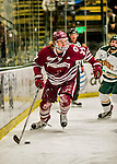 15 November 2015: University of Massachusetts Minuteman Defenseman William Lagesson, a Freshman from Gothenburg, Sweden, in action against the University of Vermont Catamounts at Gutterson Fieldhouse in Burlington, Vermont. The Minutemen rallied from a three goal deficit to tie the game 3-3 in their Hockey East matchup. Mandatory Credit: Ed Wolfstein Photo *** RAW (NEF) Image File Available ***