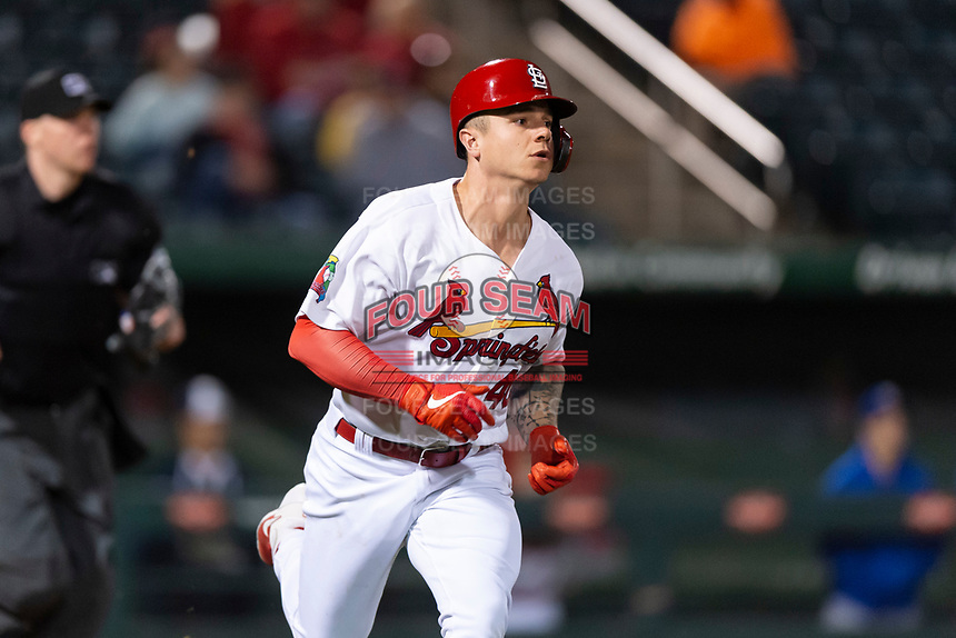 Springfield Cardinals left fielder Tyler O'Neill (40) jogs down the first base line after a home run during a rehab assignment in a Texas League game against the Amarillo Sod Poodles on April 25, 2019 at Hammons Field in Springfield, Missouri. Springfield defeated Amarillo 8-0. (Zachary Lucy/Four Seam Images)