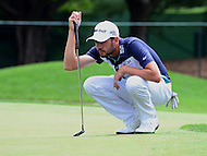 Bethesda, MD - June 24, 2016: Troy Merritt reads the #1 green before attempting a putt during Round 2 of professional play at the Quicken Loans National Tournament at the Congressional Country Club in Bethesda, MD, June 24, 2016.  (Photo by Don Baxter/Media Images International)