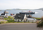 Caledonian MacBrayne ferry at Castlebay the largest settlement in Barra, Outer Hebrides, Scotland, UK