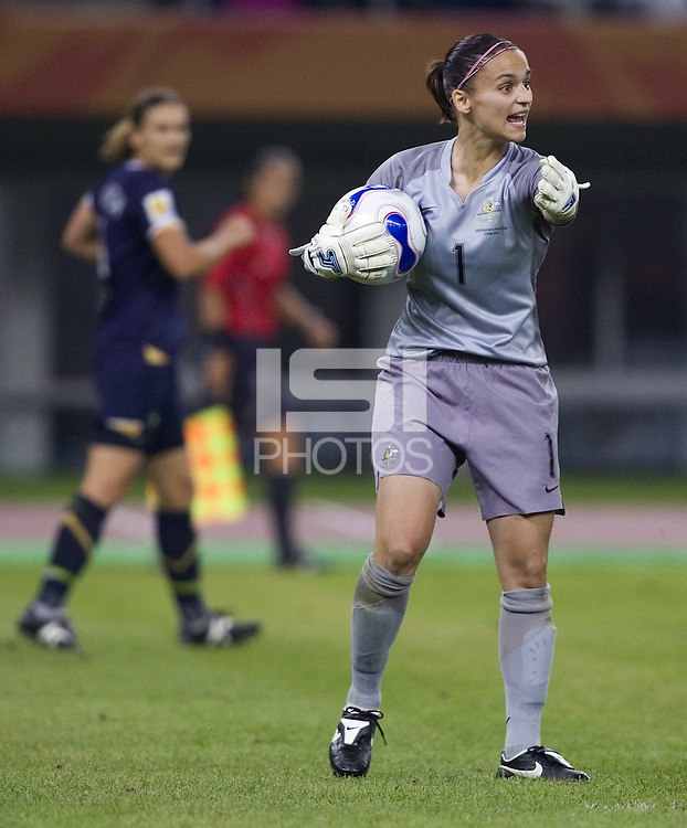 Australia goalkeeper (1) Melissa Barbieri. Brazil defeated Australia, 3-2 during the quarterfinals of the FIFA Women's World Cup at Tianjin Olympic Center Stadium in Tianjin, China on September 23, 2007.