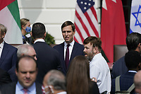 "Jared Kushner, Assistant to the President and Senior Advisor prior to the arrival of United States President Donald J. Trump and First lady Melania Trump who will host a signing ceremony of the ""Abraham Accords"" on the South Lawn of the White House in Washington, DC on Tuesday, September 15, 2020.  The Trumps are joined by Prime Minister Benjamin Netanyahu of Israel; Sheikh Abdullah bin Zayed bin Sultan Al Nahyan, Minister of Foreign Affairs and International Cooperation of the United Arab Emirates; and Dr. Abdullatif bin Rashid Alzayani, Minister of Foreign Affairs, Kingdom of Bahrain.<br /> Credit: Chris Kleponis / Pool via CNP /MediaPunch"