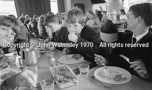 Lunch time in the canteen, Whitworth Comprehensive School, Whitworth, Lancashire.  1970.