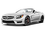 Low aggressive front three quarter view of a 2013 Mercedes-Benz SL-Class SL63 AMG Convertible