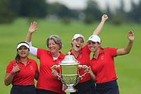 Lilia Vu, Team Captain Stasia Collins, Jennifer Kupcho and Kristen Gillman Team USA with the Espirito Santo Trophy after the final of the World Amateur Team Championships 2018, Carton House, Kildare, Ireland. 01/09/2018.<br /> Picture Fran Caffrey / Golffile.ie<br /> <br /> All photo usage must carry mandatory copyright credit (&copy; Golffile | Fran Caffrey)