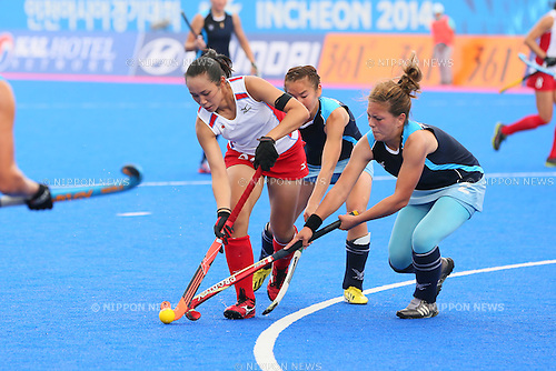 Yoshino Kasahara (JPN), <br /> SEPTEMBER 26, 2014 - Hockey : <br /> Women's Preliminary <br /> between Kazakhstan Women's 0-8 Japan Women's <br /> at Seonhak Hockey Stadium <br /> during the 2014 Incheon Asian Games in Incheon, South Korea. <br /> (Photo by YUTAKA/AFLO SPORT)