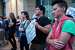 About six hundred people gathered at Sacramento City Hall to rally and march to the State Capitol and have a vigil in solidarity for the victims and violence of Charlottesville, Virginia on August 13 2017 in Sacramento, California.  Photo/Victoria Sheridan 2017.