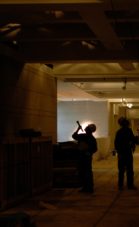 Job site foremen do inspections of work that has been completed in the Capitol Visitors Center of the U.S. Capitol...