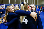 PENSACOLA, FL - DECEMBER 09: Brooklyn Lewis (3) of Concordia University, St. Paul embraces teammate Shelby Seurer (4) during the Division II Women's Volleyball Championship held at UWF Field House on December 9, 2017 in Pensacola, Florida. (Photo by Timothy Nwachukwu/NCAA Photos via Getty Images)