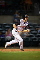 Arkansas Travelers right fielder Kyle Waldrop (10) follows through on a swing during a game against the Midland RockHounds on May 25, 2017 at Dickey-Stephens Park in Little Rock, Arkansas.  Midland defeated Arkansas 8-1.  (Mike Janes/Four Seam Images)