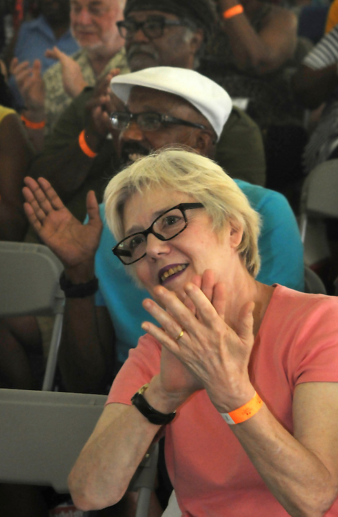 A candid view of audience member, during the session by the Craig Harris Group at the Annual Jazz in the Valley Festival,  in Waryas Park in Poughkeepsie, NY, on Sunday, August 21, 2016. Photo by Jim Peppler. Copyright Jim Peppler 2016 all rights reserved.