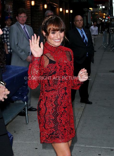 ACEPIXS.COM<br /> <br /> May 15 2014, New York City<br /> <br /> Actress Lea Michele leaves a taping of the Late Show with David Letterman on May 15 2014 in New York City<br /> <br /> By Line: Zelig Shaul/ACE Pictures<br /> <br /> ACE Pictures, Inc.<br /> www.acepixs.com<br /> Email: info@acepixs.com<br /> Tel: 646 769 0430