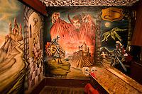 "ROMANIA / Transylvania / Tihuta Pass / 30.05.2007 / ..""Dracula's room"" inside the Hotel Castel Dracula situated high on a mountain pass in northern Transylvania where Bram Stoker set the fictional Castle of Dracula. ..© Davin Ellicson / Anzenberger"