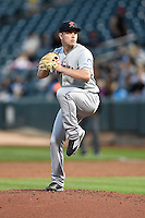 Tacoma Rainiers starting pitcher Adrian Sampson (12) delivers a pitch to the plate against the Salt Lake Bees in Pacific Coast League action at Smith's Ballpark on June 13, 2016 in Salt Lake City, Utah. The Rainiers defeated the Bees 3-1.  (Stephen Smith/Four Seam Images)