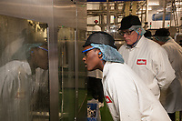 Daryll Neita visited the Muller Factory in Foston, Derbyshire. She's pictured with Rob Salt